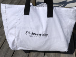 """Large cotton tote """"Oh Happy..."""