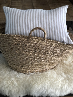White cushion with beige...