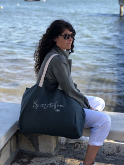 "Large linen tote ""Fly me to..."