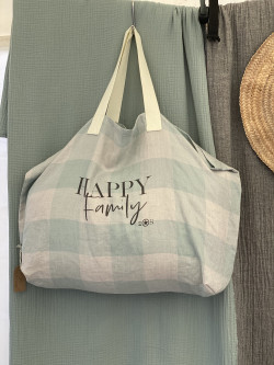 "Large linen tote  ""Happy..."