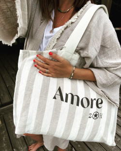 """Large linen tote  """"Amore"""""""