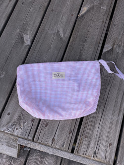 Pink gingham pouch