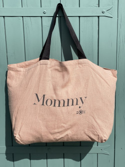 """Large linen tote  """"Mommy"""""""