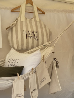"""Large linen tote  """"Happy..."""