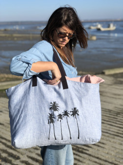 """Large linen tote """"Palm trees"""""""